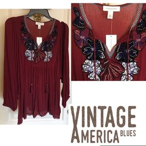 Vintage America Red Appliqué Top NWT Beautiful